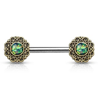 Opal Glitter Center Heart Filigree Ends Surgical Steel Nipple Barbell - 14GA (Sold Ind.)