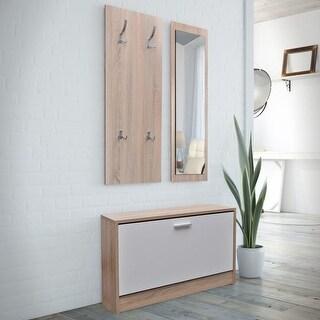 vidaXL Oak and White 3-in-1 Wooden Shoe Cabinet Set