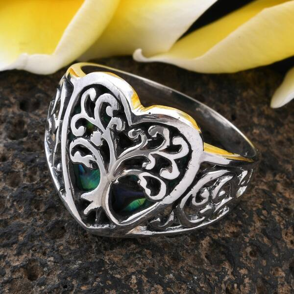 Sterling Silver and Abalone Statement Ring