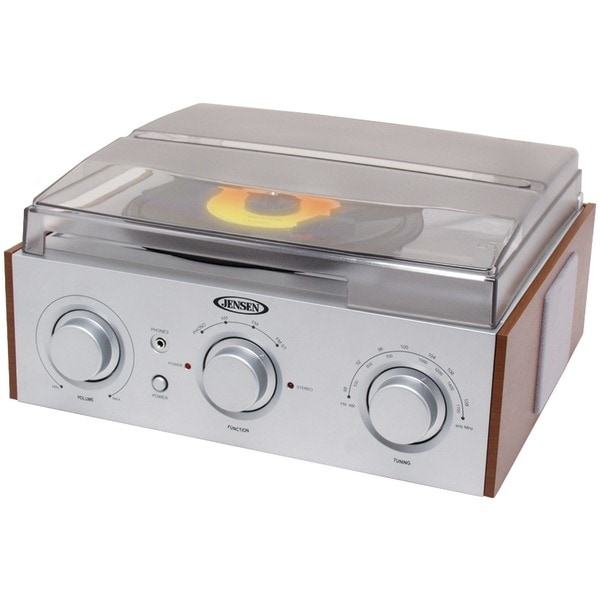 JENSEN JTA-220 3-Speed Stereo Turntable with AM/FM Receiver & 2 Built-in Speakers