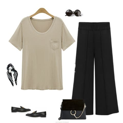 Silky Draped Fit Scoop-Neck Tee, Multiple Colors
