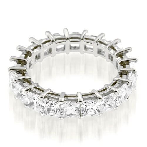 3.50 cttw. 14K White Gold Exquisite Princess Basket Set Diamond Eternity Ring