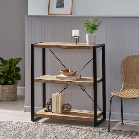 Brinkley Indoor Mango Wood Handcrafted 3 Shelf Shelving Unit by Christopher Knight Home