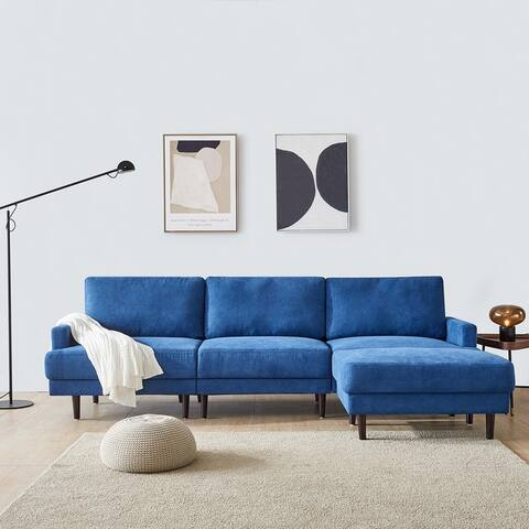 "Modern fabric sofa L shape 3 seater with ottoman-104.6"""
