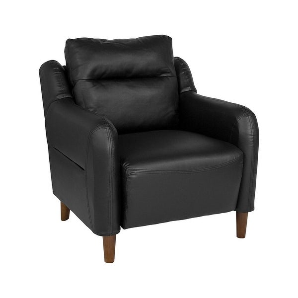 Offex Contemporary Living Room Upholstered Bustle Back Arm Chair in Black Leather