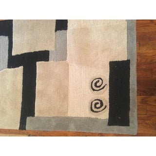 Safavieh Handmade Rodeo Drive Modern Abstract Ivory/ Grey Wool Runner Rug (2'6 x 10')