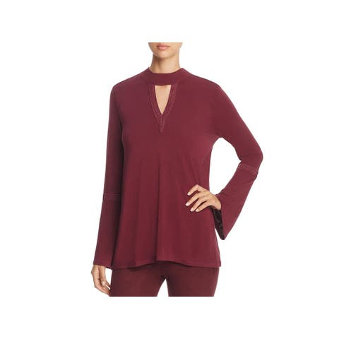 Lysse Womens Ainsley Casual Top Embroidered Bell Sleeves