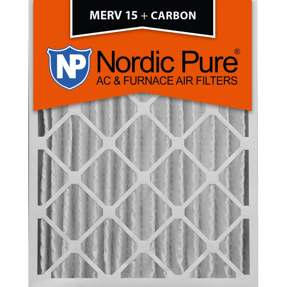 3 Piece Nordic Pure 25x25x1 MERV 10 Pleated Plus Carbon AC Furnace Air Filters 25 x 25 x 1