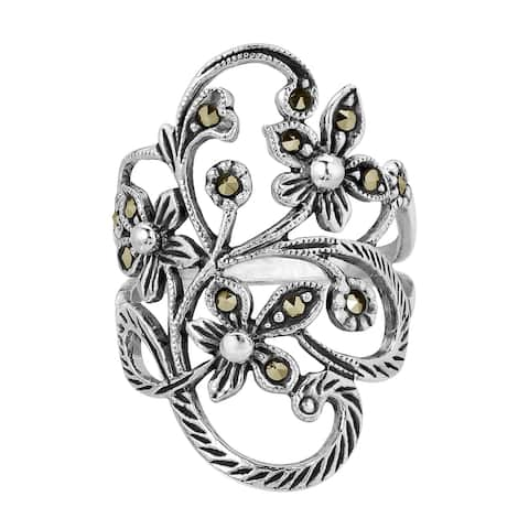 Handmade Beautiful Marcasite Flower Vine Sterling Silver Ring (Thailand)