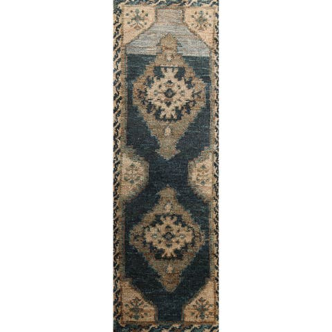 """Geometric Moroccan Oriental Runner Rug Hand-knotted Staircase Carpet - 2'6"""" x 7'8"""""""