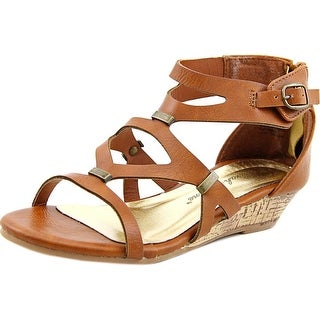 Sarah Jayne Lacey Wedge Youth Open Toe Synthetic Brown Wedge Sandal