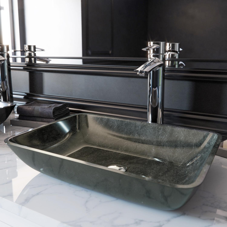 Vigo Grey Onyx Glass Rectangular Vessel Bathroom Sink Overstock 16050077