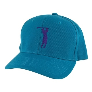 CapRobot Golfer Swing Mid Crown Curved Brim Adjustable Snapback Cap Hat - Aqua Teal Purple