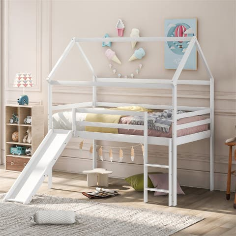 Merax House Bed Twin Size Loft Bed with Slide