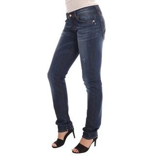 Galliano Blue Wash Cotton Stretch Skinny Low Jeans