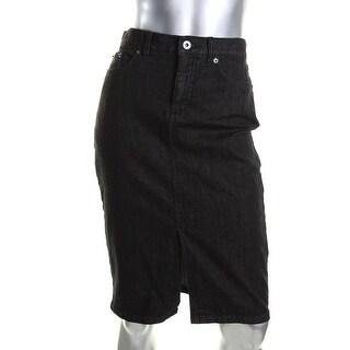 Lauren Ralph Lauren Womens Pencil Skirt Denim Button-Zip Fly