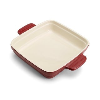 """Pedrini Red 9"""" Square Ceramic Baker Kitchen Bakeware with Carrying Handles"""