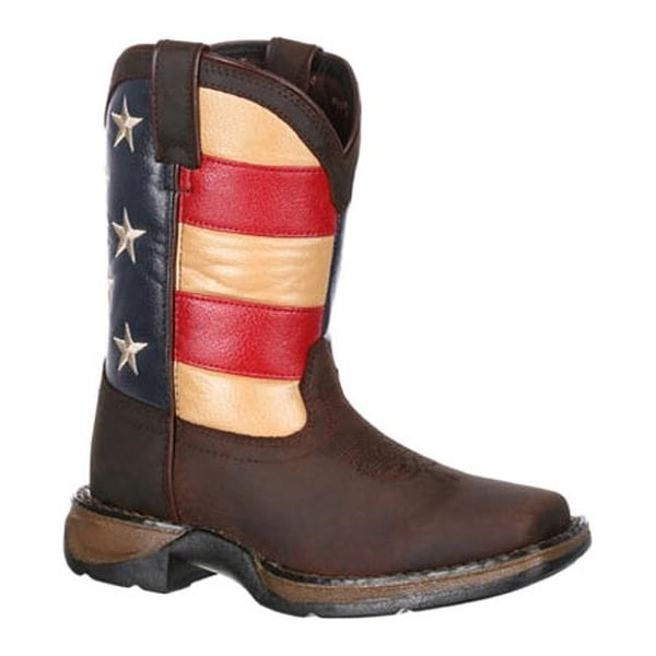 "Durango Boot Children's DBT0159 8"" Lil' Rebel Boot Brown/Union Flag Leather/Faux Leather"