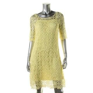 Lauren Ralph Lauren Womens Petites Lace Elbow Sleeve Casual Dress - pl