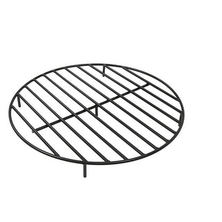 Sunnydaze Round Black Steel Outdoor Camping Fire Pit Firewood Grate - 30-Inch - 30 Inch