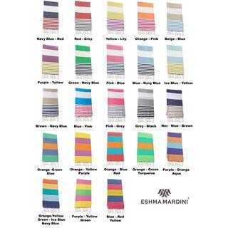 Eshma Mardini Turkish Cotton Pestemal Beach / Bath Towel (Option: Blue/Beige)