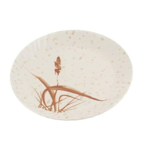 Grass Printed Plastic Round Design Lunch Food Dish Plate 23cm Dia