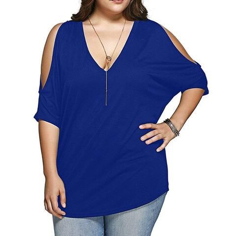 Allegrace Women Plus Size V Neck Short Sleeve Batwing Top Cold Shoulder T Shi... - 2