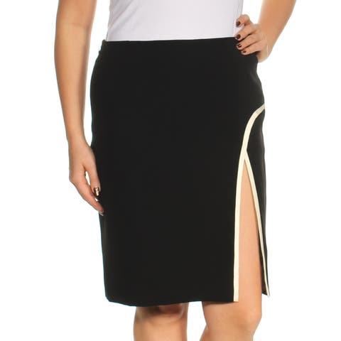 LANVIN Womens Black Slitted Knee Length Pencil Wear To Work Skirt Size: 12