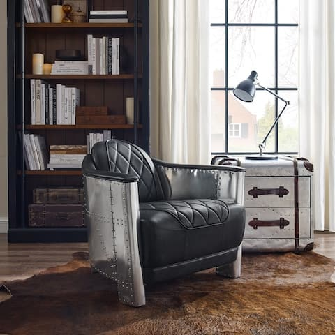 Art Leon Industral Retro Top Grain Leather & Aluminum Accent Chair