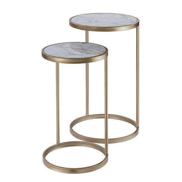 Silver Orchid Hasmik Faux Marble Nesting End Tables. Opens flyout.