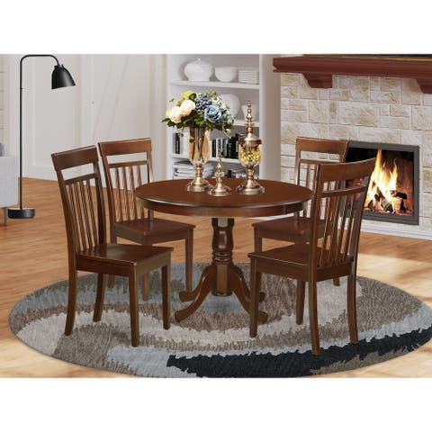 5 Piece Kitchen Table set set with Pedestal Dining Table and 4 Dinette Chairs - Mahogany Finish (Pieces Option)