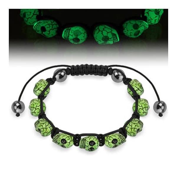 Bracelet with Glow in the Dark Skull Beads (17 mm) - 7.5 in