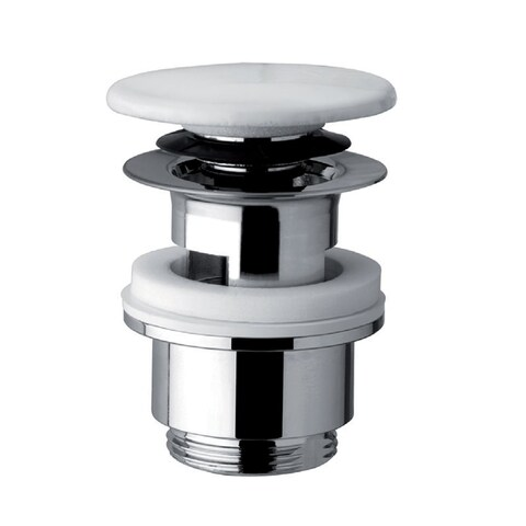 Bissonnet 360503 Cromo Clicker Drain Assembly with Ceramic Dome and Overflow Hole - Polished Chrome/White - N/A