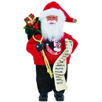 "9"" NCAA Florida State Seminoles Santa Claus with Good List Christmas Ornament - RED"