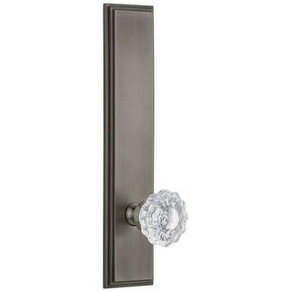 Grandeur CARVER_TP_DD_NA  Carre Solid Brass Rose Tall Plate Dummy Door Knob Set with Versailles Crystal Knob