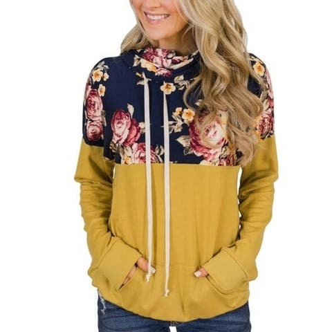 Floral Hoodies Long Sleeve Top, Multiple Colors