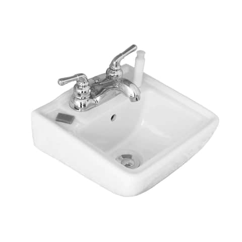 """Fine Fixtures Ceramic Biscuit Small Wallmount Sink - 12"""""""