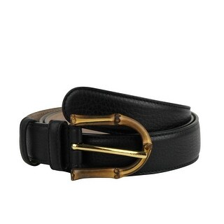 Gucci Women's Bamboo Black Leather Belt With Buckle 322954 1000 (95 / 38) - 95 / 38