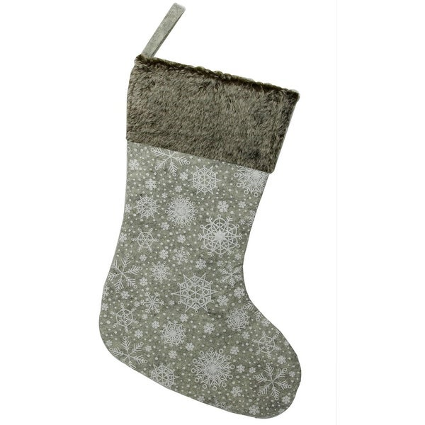 "15"" Gray Snowflake Saturation and Faux Fur Christmas Stocking"
