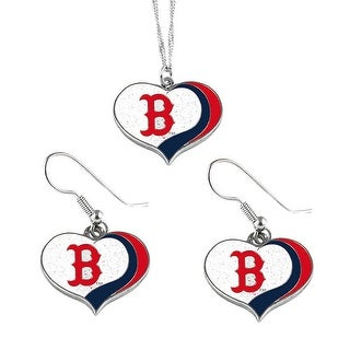 Boston Red Sox  MLB Glitter Heart Necklace and Earring Set Charm Gift