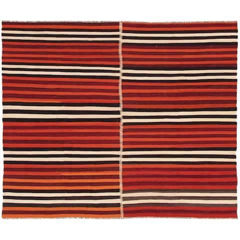ECARPETGALLERY Flat-weave Bohemian Dark Red, Orange Wool Kilim - 6'7 x 8'11