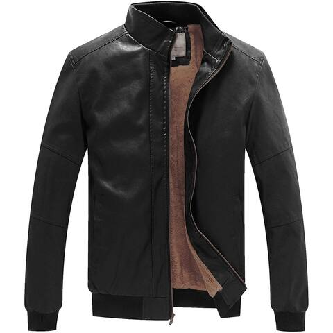 Wen Ven Mens Jacket Black Size Small S Faux-Leather Faux Fur Lined