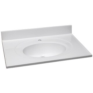 """Design House 522193 25"""" Engineered Stone Vanity Top with Backsplash and Integrated Sink - Solid White"""