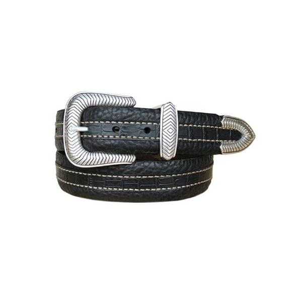 Vintage Bison Western Belt Men Coloma Leather Croc Print Black