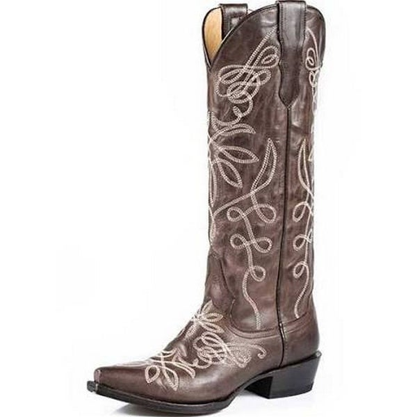 Stetson Western Boots Womens Zipper Vintage Brown