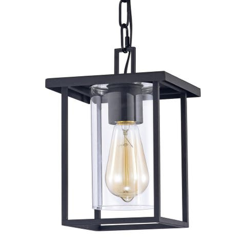 1-Light 7'' Matte Black Pendant Light with Clear Glass Shade