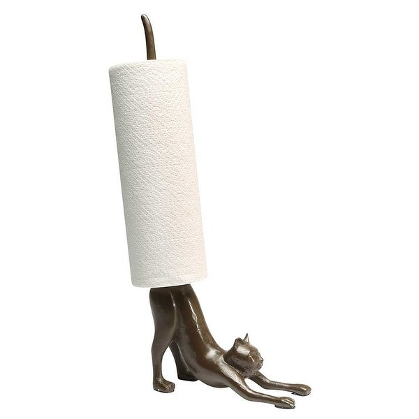 Paper Towel Stand - Yoga Cat Cast Iron Holder - Exclusive From What On Earth - 16 in.