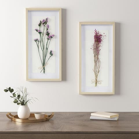 Madison Park Avant Garden Floral Natural Shadowbox 2 Piece Set