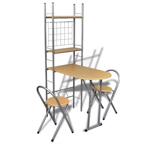 vidaXL Foldable Breakfast Bar Set with 2 Chairs