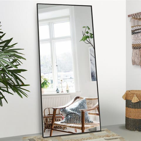 "Floor Mirror Full Length 71""x31.5"" Large Standing Metal Thin Frame"